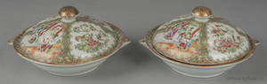 Pair of Chinese export porcelain rose medallion covered warming dishes 19th c