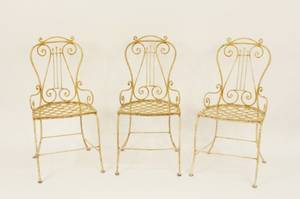 3 Wrought Iron Cream  Rust Painted Chairs