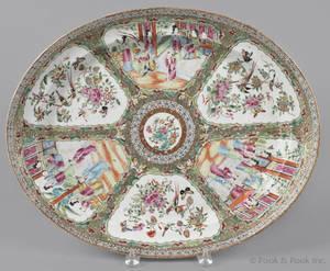 Chinese export porcelain rose medallion platter 19th c