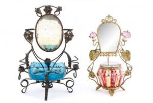 Group of 2 Art Nouveau Vanity Stands with Glass
