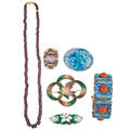 Collection of colorfully enameled jewelry