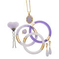 Lavender jade  gold jewelry  silver hairpin