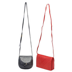 Two bottega veneta woven leather crossbody bags
