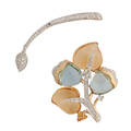 Diamond or gem set  white gold floral brooches