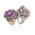 Two diamond or gem set gold flower rings