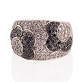 Black or white diamond white gold ring