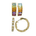 Two pairs diamond or gem set yellow gold earrings