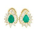 Emerald diamond  yellow gold earrings