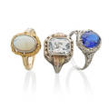 Three antique gem or glass set gold rings