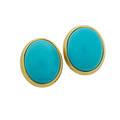 Turquoise  yellow gold earrings