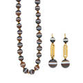 Victorian banded agate bead necklace  earrings