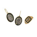 Victorian enameled yellow gold mourning jewelry