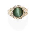 Antique cats eye chrysoberyl diamond  gold ring