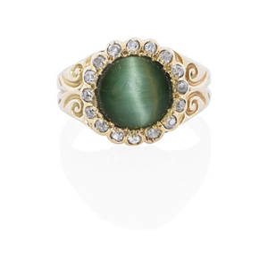 Antique cats eye chrysoberyl diamond  gold ring