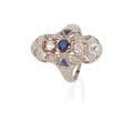 Art deco diamond  sapphire white gold navette ring