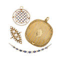 Antique gold sapphire or seed pearl jewelry or accessories