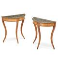 Pair of neoclassical style grain painted demilunes