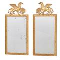 Pair of neoclassical style giltwood mirrors