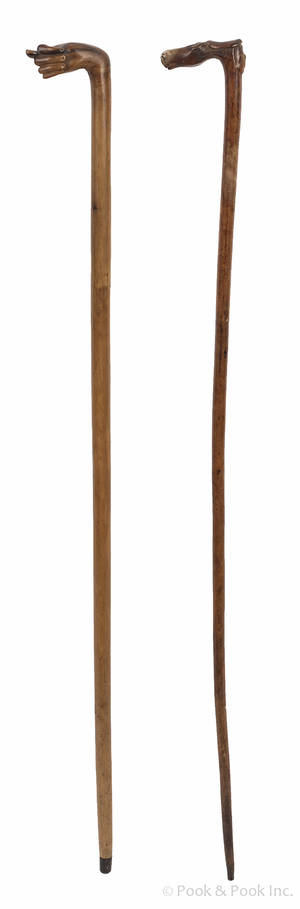 Pair of fruitwood carved canes mid 19th c