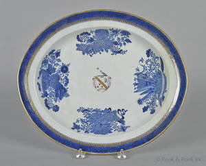 Chinese export blue Fitzhugh platter early 19th c