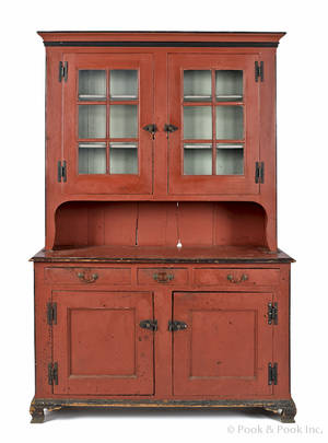 Pennsylvania painted pine Dutch cupboard ca 1800