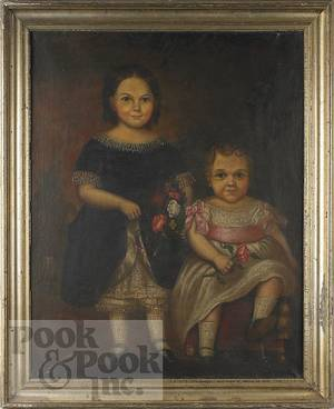 Oil on canvas portrait of two girls