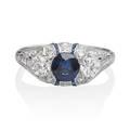 Art deco sapphire diamond  platinum threestone ring