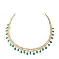 Emerald diamond  yellow gold fringe necklace