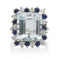 Aquamarine sapphire diamond  white gold ring