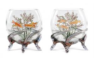 Pair of Moser Style Pillow Vases Undersea Motif
