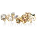 Ten gem set gold or platinum rings