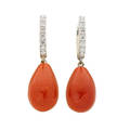 Coral  diamond white gold drop earrings