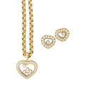 Chopard happy diamond  yellow gold necklace  earrings