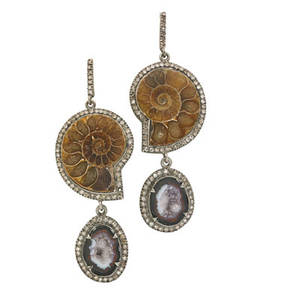 Fossilized snail shell druzy  diamond earrings