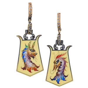 Antique enameled gold  diamond pendant earrings