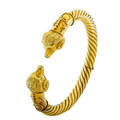 Archaeological revival style hinged yellow gold bangle