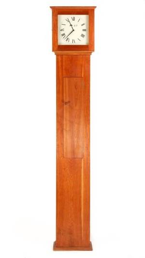Shaker Style Stained Pine Tall Case Clock 20th C