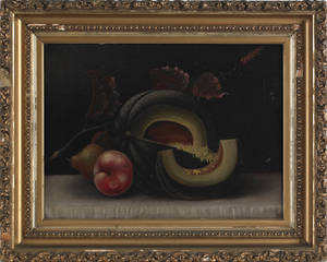 Oil on canvas still life of fruit