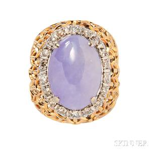 14kt Gold Lavender Jade and Diamond Ring