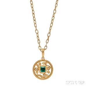 22kt Gold 18kt Gold Emerald and Diamond Pendant Necklace Zaffiro