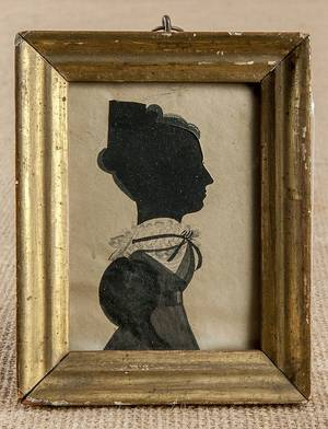 Watercolor and hollowcut silhouette of a woman ca 1830