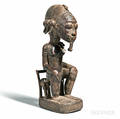 Baulestyle Carved Wood Seated Figure with Cowrie Shell and Bead Necklace