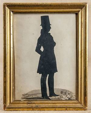William James Hubbard watercolor and hollowcut full length silhouette of a gentleman in a top hat