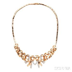 Retro 18kt Gold and Diamond Necklace Retzignac