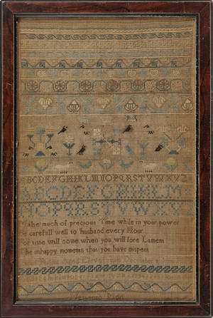 Silk on linen band sampler dated