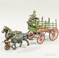 Polychrome Cast Iron Horsedrawer Beer Wagon
