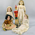 Five Bisque and Composite Dolls