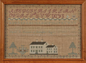 Bolton Connecticut silk on linen sampler ca 1840