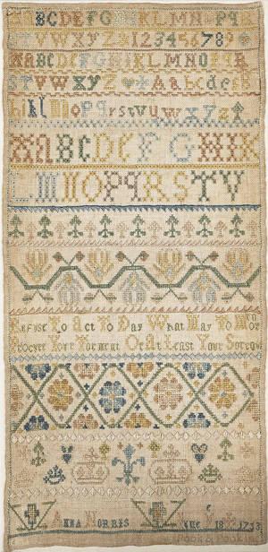 Silk on linen band sampler dated