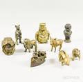 Nine Cast Bronze and Iron Still Banks